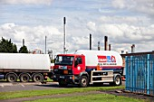 Calor gas lorry at the Ineos oil refinery in Grangemouth Scotland, UK. The site is responsible for massive C02 emissions.