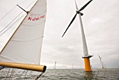 Sailing at the newly built Robin Rigg offshore wind farm in the solway firth between Cumbria and Scotland