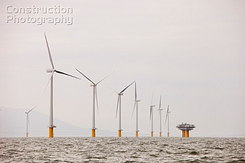 The newly built Robin Rigg offshore wind farm in the solway firth between Cumbria and Scotland