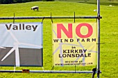 Banners protesting against a potential wind farm development near Kirkby Lonsdale, Cumbria, UK.