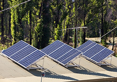Solar panels on a house roof in Kinglake Victoria Australia