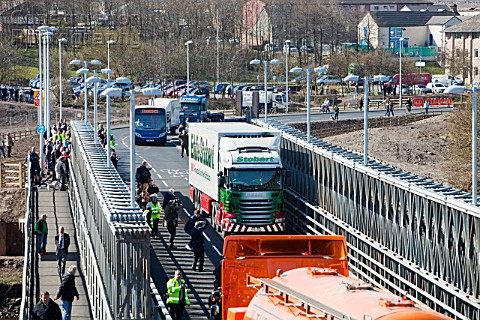 This Eddie Stobart lorry was chosen as the first vehicle to cross the new Workington bridge crossing