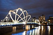 The Seafarers Bridge, a modern footbridge across the Yarra River in Melbourne, Australia.