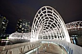 The Webb Bridge, a modern footbridge across the Yarra River in Melbourne, Australia.