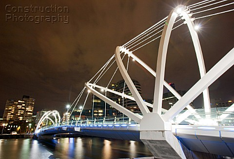 The Seafarers Bridge a modern footbridge acorss the Yarra River in Melbourne Australia