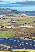 Aerial survey, Construction of 175 acre Solar Farm; Contractor: M Sullivan & Sons; owner EDF EN Canada; EDG-Engeries Nouvelles; West Carleton Solar Farm; Galetta Side Road; Ontario; Canada