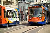 Supertram and urban bus. Supertram is a tram network in Sheffield, England, UK