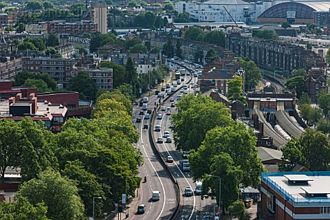 The A4 heading east to central London through west Kensington London UK