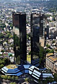 Germany, Hessen, Frankfurt am Main, general aerial view, Deutsche Bank Towers