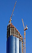 United Arab Emirates, Abu Dhabi, skyscraper in construction, cranes,