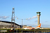UK EasyJet plane landing at Luton airport