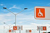 Uruguay. Parking spaces for pregnant women and disabled people at the new Carrasco International airport in Montevideo