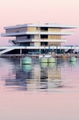 24 November 2009 - Valencia, Spain - The Veles e Vents building, designed by David Chipperfield Architects and completed in 2006. It won the LEAF award that year.  It is located in the port of the Americas Cup and its main function is a viewing grandstand for the sailing races.