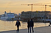 17 February 2014 - Santander, Spain -Construction work progresses on the new Centro Bot'n building on Santanders seafront, due to open in 2014. Designed by acclaimed Italian architect Renzo Piano, it will be a leading arts and culture centre in Spain.