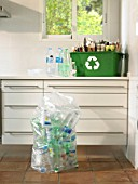 Still life of recycling in a domestic kitchen, wide shot