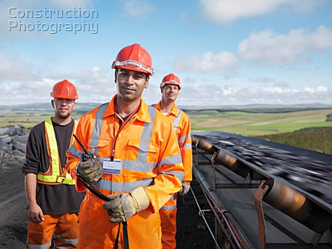 Coal Workers With Conveyor Belt