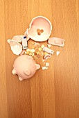 smashed piggy bank and money