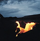 Lava flow on mountain