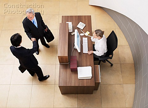 Meeting in office reception