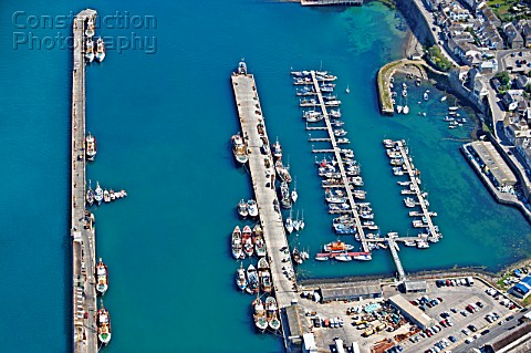 Aerial view of English fishing harbour