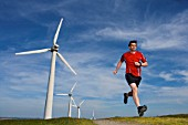 Runner at a wind farm.