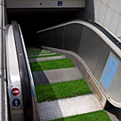 Grass on escalator