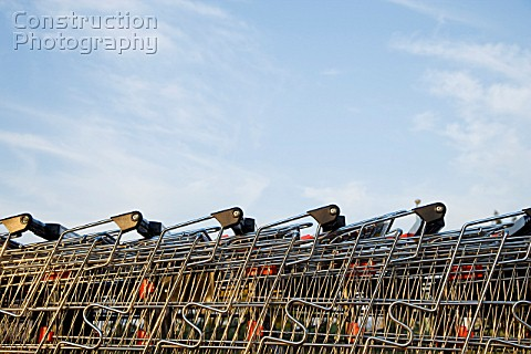 Grocery carts parking together