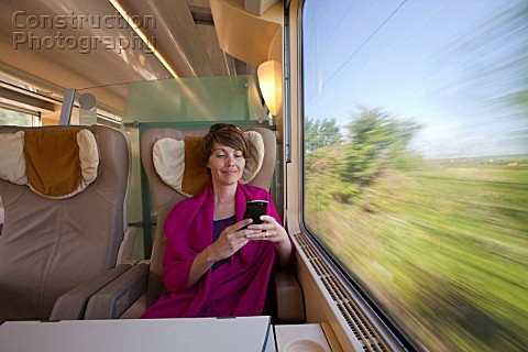 A woman on train