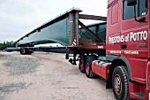 Special vehicles required to transport composite bridge sections to the site