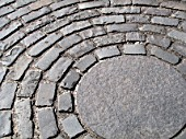 Granite sett cobbled paving in circle design