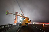 Sheet piling work on the M11 at night