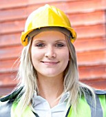 Woman with hard hat