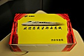 Snack box for first class passengers on the Zhengzhou to Xian High Speed line, China. 27th February 2010.
