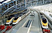 Eurostars at the platform, Waterloo International Station. C1995