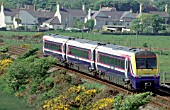 The Coradia Class 175 units are common on the North Wales Coast such as this scene west of Bangor showing a Crewe - Holyhead service curving past Valley in Anglesey.