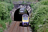 The Class 175 Coradia DMU trainsets work along the North Wales Coast with such services as the Crewe - Holyhead working here seen racing through the tunnels at Bodorgan west of Bangor.
