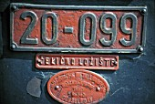 Builders plate detail from Yugoslav Railways Class 20 Mogul No.20 099 at Sid Depot on Sunday 28 August 1983. The Celicno Loriste indicates that the locomotive has a steel firebox.
