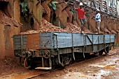 Loading Bauxite into wagons of Ghana Railways at Awaso Bauxite Mine on Friday 14th June 1985.
