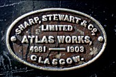 The builders plate on the sharp Stewart 0-4-0 saddle tank at Mogi. Cruzes Ironworks Brazil Sharp Stewart originally in Manchester before moving to Glasgow. They combined with Neilson and Dubs to form the mighty North British Locomotive Company.