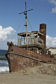 "The ""Tid"" type steam tug abandoned in the North Cyprus village of Gemikonagi on the Mediterranean coast. December 2008"
