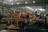 The erecting shop at Chinas Datong Locomotive Works showing the production of standard QJ 2-10-2 & JS 2-8-2 during the 1980s at peak production. One steam locomotive was being built each day.