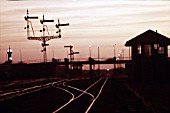 Sunset in Khartoum late January 1983 showing former British signalbox and signals.
