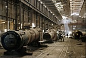 The boiler shop at Atbara Locomotive Works December 1982.