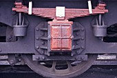 Axlebox and springs on tender wheels of a Turkish State Railways former LMS Stanier 8F 2-8-0. Picture made June 1987.
