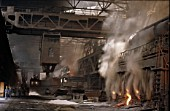 Open Hearth Blast Furnaces at Anshan the iron & steel capital of China.