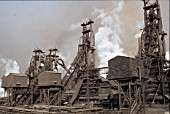 Blast furnace at Anshan Iron & Steel Works China.