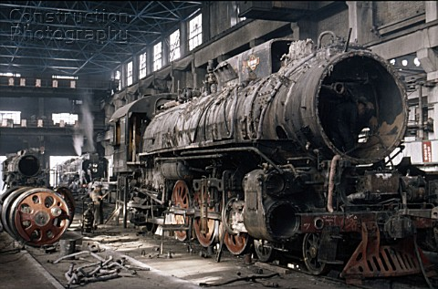 A China Railways RM Class Pacific 462 undergoes a heavy overhaul at Changchung Loco Works in 1986