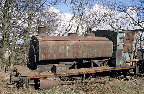 A scene at Thomas Muirs scrapyard at Easter Balbeggie near Thornton Fife showing an Andrew Barcley 0