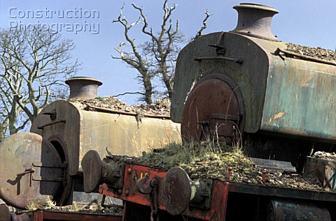 A pair of Andrew Barclay 040STs at Thomas Muirs scrapyard at Easter Balbeggie Thornton Fife Right NC