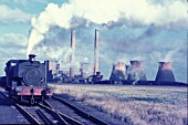 Goldington Power Station, Bedford with one of their oil fired Andrew Barclay 0-4-0STs, ED No.9, at work on Tuesday 9th November 1971; a blustery day of golden sunlight.